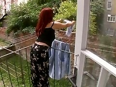 Stellar Mature Wife Attacked While Suspending Laundry - Cireman
