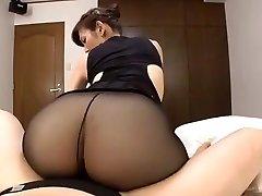Japanese mature black pantyhose fuck-a-thon