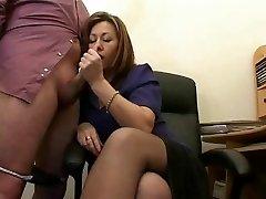 Hot Mature Secretary Jerks The Jizz From Bosses Pecker !