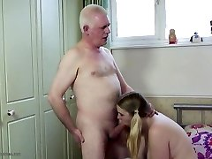 Older father fucks young daughter