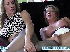 Light-haired transgirl wanks big cock before cuming on hot nylon ass