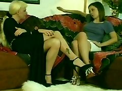 Hot Blonde Shemale & Sizzling Nubile Brunette Girl