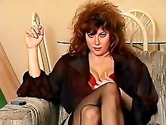 Classic 80's smoking, giant hair and all