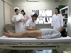 Horny Japanese nurses take turns riding patient