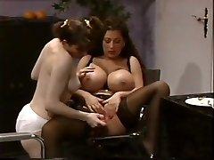 Busty Lesbian MILF With A Teen