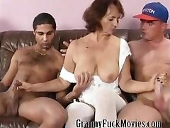 Granny with firm tits plumbing two