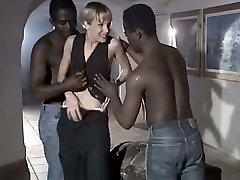 White whore wife Rebeca gives eager blowjob to a duo of monstrous black boys