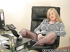 Chubby Secretary Teases In the Office In Blue Silk Pantyhose