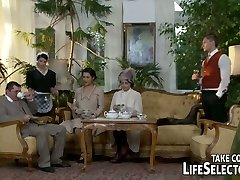 Vintage looking brunette maid serves her landlord with blowjob