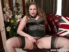 Natural ample mounds brunette Sophia Delane strips to nylons high-heeled slippers and wanks