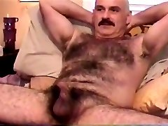 Sucking dick of sexy hairy moustache daddy