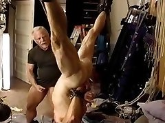 Old gay dude deals some nasty punishment on his slave's dick
