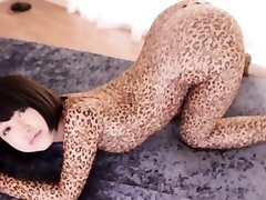 Lithe asian cosplay babe in leopard bodysuit creampied