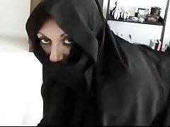 Iranian Muslim Burqa Wifey gives Footjob on American Mans Big American Penis