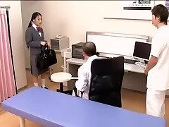 Medical scene of young na.ve Asian sweetie getting checked by two naughty physicians