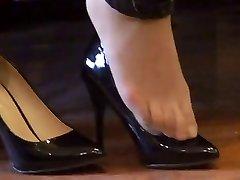aziatische afgespoten (nylon) voeten shoeplay met hoge hakken