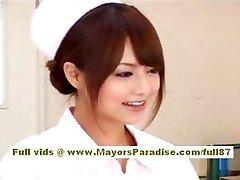Akiho Yoshizawa Sexy Japanese nurse enjoys teasing the doctor