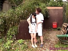 Lil japanese babe fingerfucked outdoors