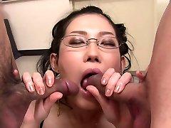 Bitchy Asian hottie in glasses Yui Komine blows 2 rock-hard lollicocks