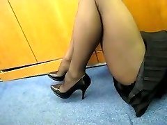 Tights Show in the Office