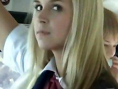 Bus Total of Blonde School Girls 3