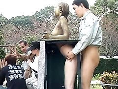 Cosplay Porn: Public Painted Statue Penetrate part 4