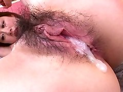 Pretty horn-mad Asian girlie with nice bumpers takes double penetration