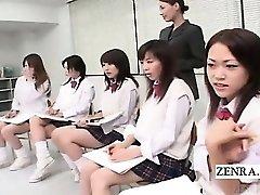 Tekstet CFNM Japanske skolepiker naken kunst klasse