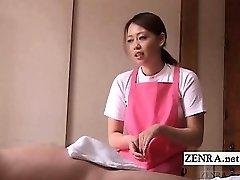 Subtitled CFNM Japanese caregiver elderly man hand-job