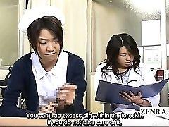 Tekstet CFNM Japansk milf lege og sykepleier handjob