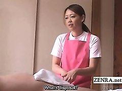 Tekstet CFNM Japansk omsorgsperson eldre mann handjob