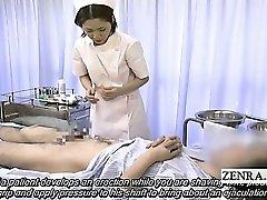 Tekstet medisinsk CFNM handjob cumshot med Japan sykepleier
