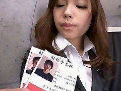 Office teen Aiko Hirose trim snatch creamed