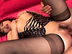 Lady in hot dark-hued lingerie has 3some for creampie finish