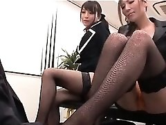 Asian glorious interns playing insatiable mistresses with their boss