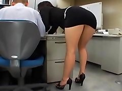 Asian office girl gets fucked by two