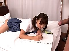 Lusty Asian college slut Momoka Rin bj's juicy cock of her camera fellow