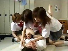 Strap Dildo gangbang by 3 japanese schoolgirls