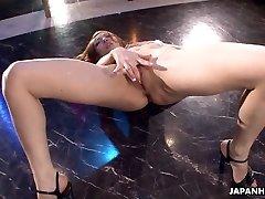 Asian stripper getting wild on the pillar as she milks