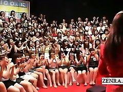 Subtitled CFNM Japanese big handjob blowjob event