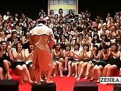 Subtitled CFNM Japanese massive handjob fellatio event