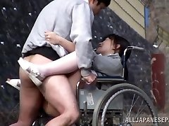 Insatiable Japanese nurse bj's cock in front of a voyeur