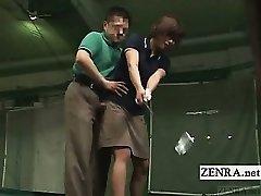 Subtitled Japanese golf swing full salute demonstration