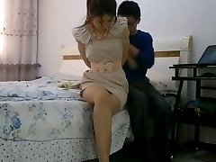 Chinese lady bondage tied up and gagged with stockings