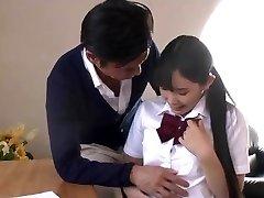 Grandfather teaching teen girl