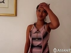 Homemade sex video with busty Asian doll