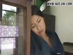 Japanese wife sucks on his cock, gets fucked and gargles again