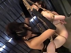 Spectacular Asian hogtied and swinging around while felt out!