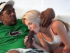 small blonde takes biggest ebony cock