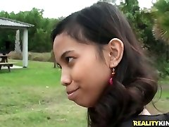 Ultra-cute Indian girl Amanda Putri picked up in the street got money for intercourse